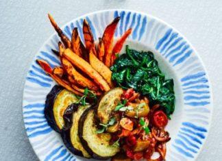 Vinete la gratar cu sos de legume si cartofi dulci