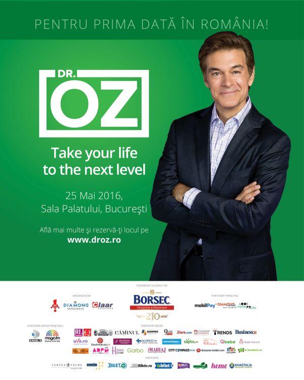 """Mesajul lui Dr. Oz pentru Romania: """"Stiu ca sunteti oameni ospitalieri si ca ati oferit lumii mari personalitati"""""""